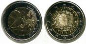 2 евро флаг Люксембург 2015 год