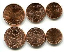 Набор евро монет Португалии 1-5 центов