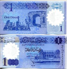 1 динар Ливия 2019 год полимер
