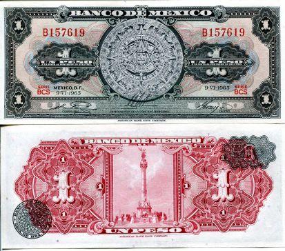 1 песо Мексика 1965 год