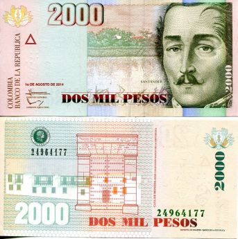 2000 песо Колумбия 2014 год