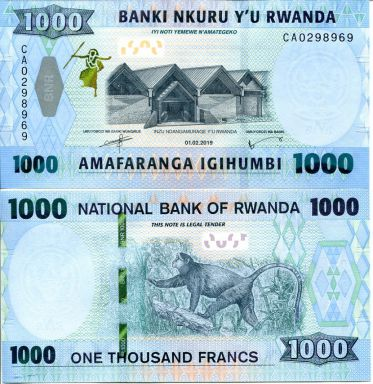 1000 франков Руанда 2019 год