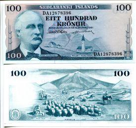 100 крон Исландия 1961 год