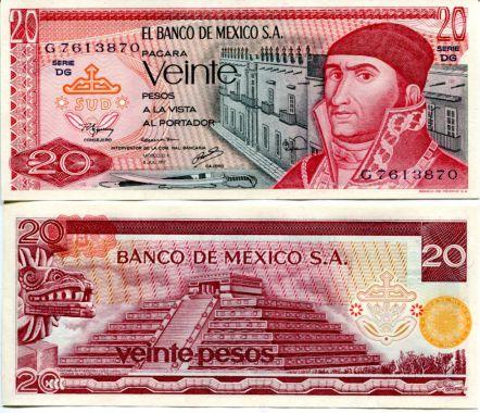 20 песо Мексика 1977 год