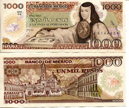 1000 песо Мексика 1985 год