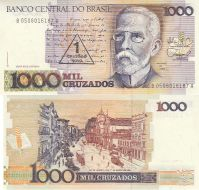 1 новый крузадо 1989 на 1000 крузадо 1988 год Бразилия