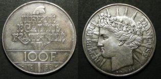 100 франков братство Франция 1988 год