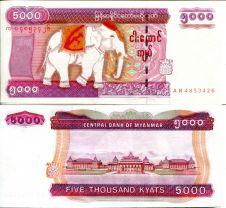 5000 кьят слон Мьянма