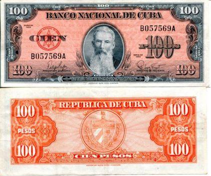 100 песо Франциско Висент Агилера Куба 1959 год