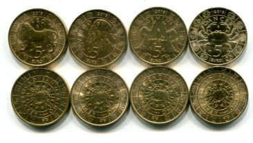 Набор монет Сан-Марино 5 евро знаки зодиака 2019 год