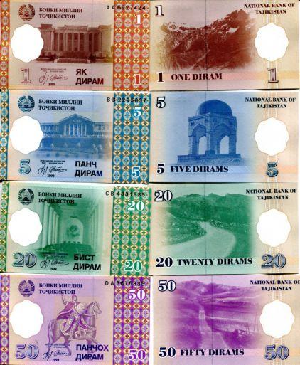 Набор банкнот Таджикистана 1999 год