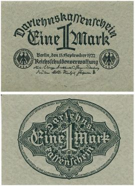 1 марка Германия, Веймар 1922 год