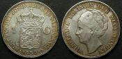1 гульден Нидерланды 1930 или 1939 год