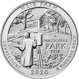 25 центов 52 парк Ферма Дж. А. Вейра, Коннектикут США 2020 год