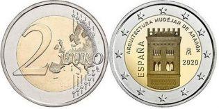 2 евро Архитектура мудехар в Арагоне Испания 2020 год