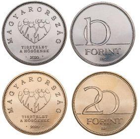 10 и 20 форинтов Дань уважения героям, коронавирус Венгрия 2020 год