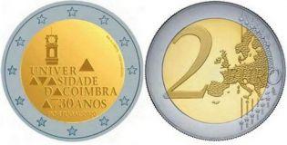 2 евро 730 лет Университету Коимбры Португалия 2020 год