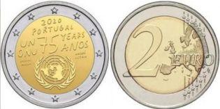 2 евро 75 лет ООН Португалия 2020 год