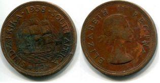 1 пенни 50-е года Южная Африка