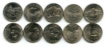 Набор монет США по 5 центов (юбилейные)