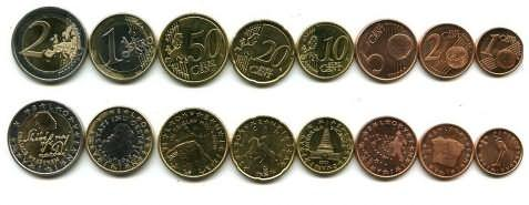 Набор монет евро Словении 2007 год