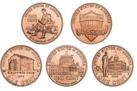 Набор монет США по 1 центу Жизнь Линкольна
