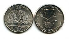 25 центов (квотер) 1999 год (Коннектикут) США