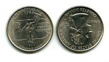 25 центов (квотер) 1999 год (Пенсильвания) США