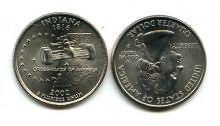 25 центов (квотер) 2002 год (Индиана) США