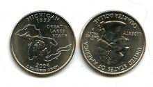 25 центов (квотер) 2004 год (Мичиган) США