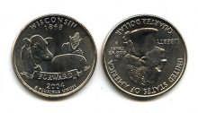 25 центов (квотер) 2004 год (Висконсин) США