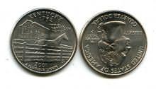 25 центов (квотер) 2001 год (Кентукки) США