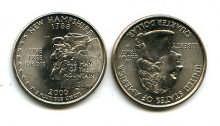 25 центов (квотер) 2000 год (Нью-Гэмпшир) США