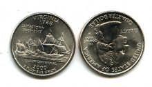 25 центов (квотер) 2000 год (Верджиния) США