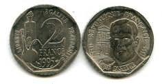 2 франка 1995 год (Луи Пастер) Франция