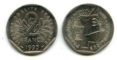 2 франка 1993 год (Жан Мулен) Франция