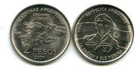 2 песо 2007 год Аргентина