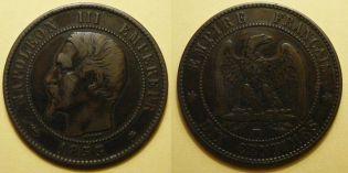 10 сантим 1853 год BB Франция