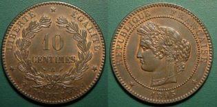 10 сантим 1895 год Франция A
