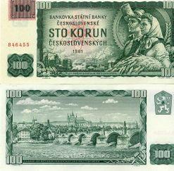 100 крон 1961 год с маркой 1993 года Чешская Республика