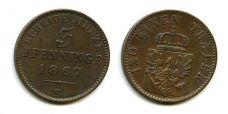3 пфеннинга 1867 год В Германия