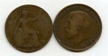 1 пенни 1914, 1928 год Великобритания
