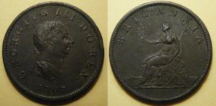 1/2 пенни 1807 год Великобритания