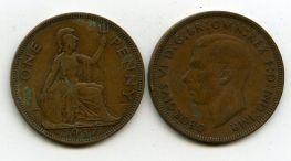 1 пенни 1937 год Великобритания