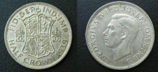 1/2 кроны 1939 или 1945 год Великобритания