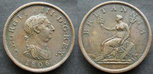 1 пенни 1806 год Великобритания