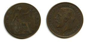 1 пенни 1918 год Великобритания