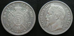 5 франков Наполеон 1870 год Франция