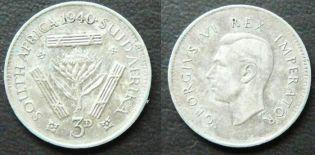 ЮАР 3 пенса 1940 год
