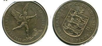 25 пенсов 1972 год Гернси